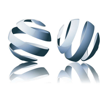 Set of abstract sprial sphere designs with metal effect