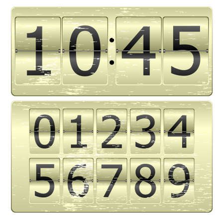 Set of numbers for use as a clock or counter Illustration