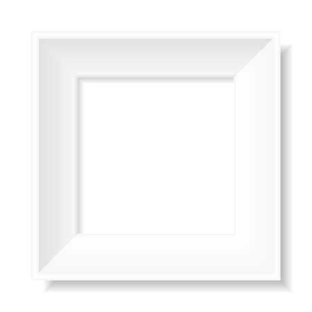 Empty square white picture frame