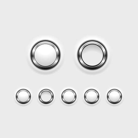 Conjunto de botones de efecto de cromo que muestra posiciones de encendidoapagado.