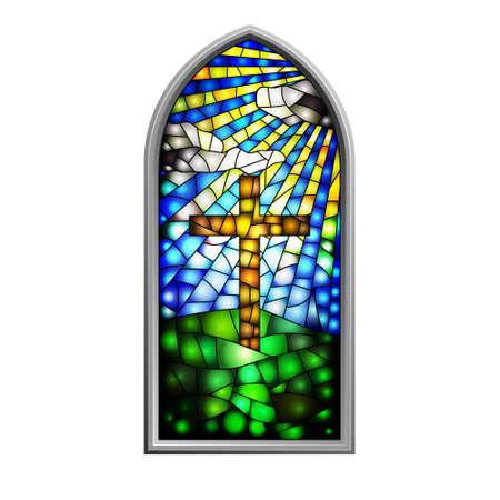 window church: Illustrazione di una vetrata Vettoriali