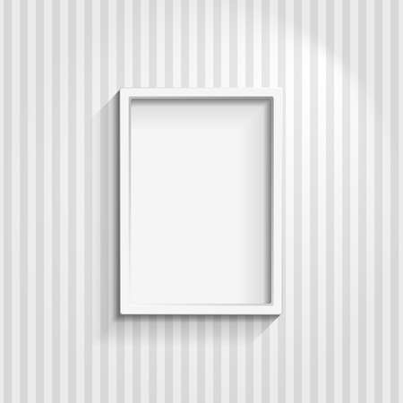 painting wall: Illustration of an empty frame on a striped wall