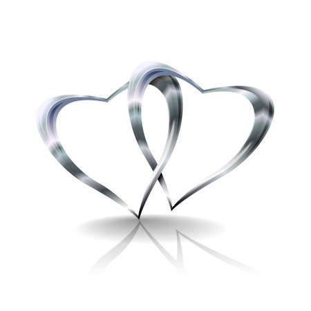 silver: Illustration showing two silvers hearts joined together. Transparencies used in multiply, darken and overlay modes.