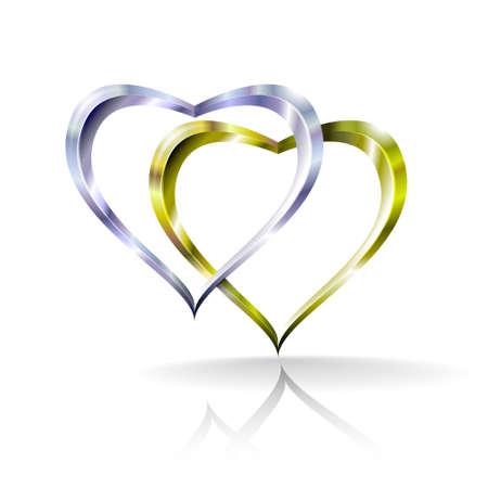verdunkeln: Illustration zeigt zwei Silbermedaillen Herzen zusammengef�gt. Folien in multiplizieren, verdunkeln und Overlay-Modus verwendet.