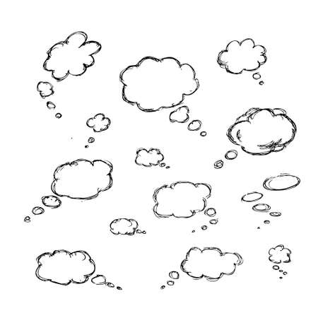 bubble speach: Hand drawn illustrations for use as individual designs or as a background