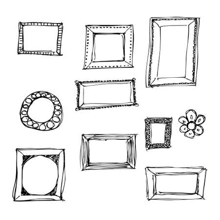 Hand drawn pen and ink illustration of picture frames on a white background
