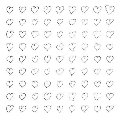 Hand getrokken pen en inkt illustratie van harten op een witte achtergrond