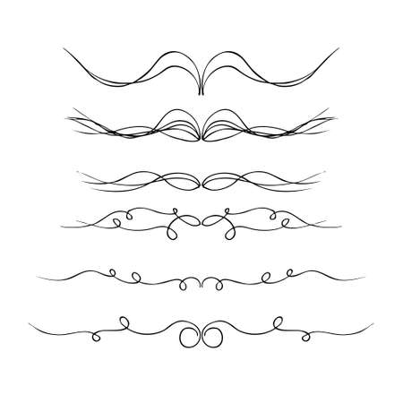 Hand drawn pen and ink illustration of different borders on a white background