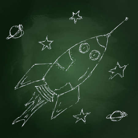 Hand drawn chalk illustration of a space rocket on a blackboard background Illustration