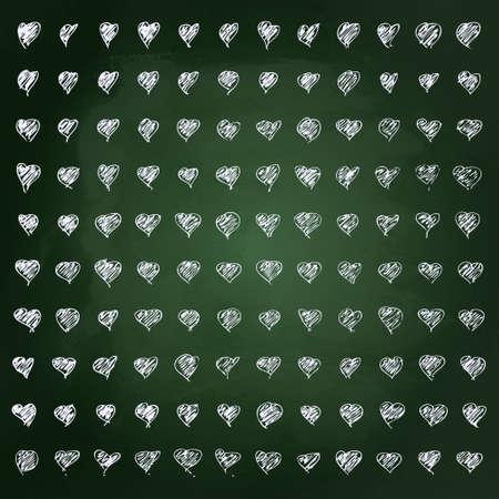 Hand getekende krijt illustratie van harten op een schoolbord achtergrond