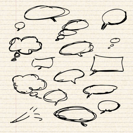Illustration of speech bubbles sheet of lined paper