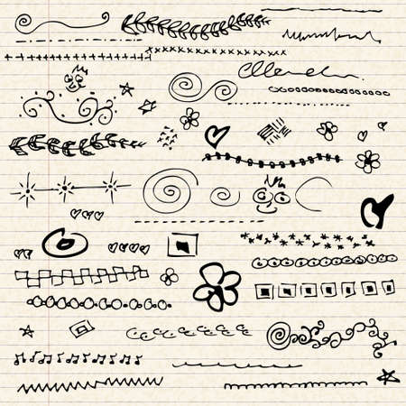 scribbles: Illustration of scribbles on a sheet of lined paper