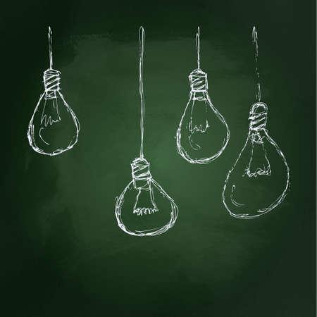Hand drawn chalk illustration of a light bulb on a blackboard background Vector
