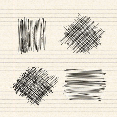 lined paper: Hand drawn illustration of scribbles on a sheet of lined paper Illustration