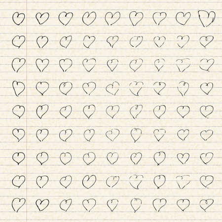 lined paper: Illustration of hearts on a sheet of lined paper Illustration