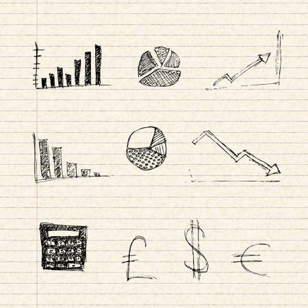 lined paper: Hand drawn illustration of charts on a sheet of lined paper