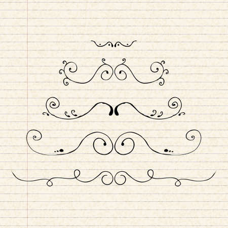 seperator: Hand drawn illustration of dividers on a sheet of lined paper Illustration