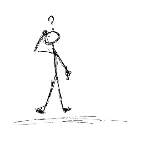 ponder: Doodle of a matchstick man with a question mark above his head Illustration