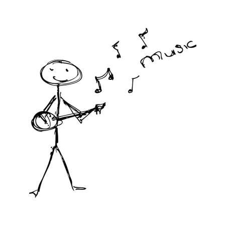 matchstick: Doodle of a matchstick man playing a guitar