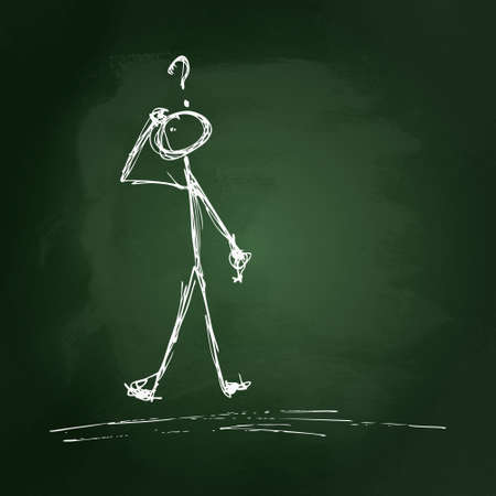 ponder: Hand drawn stick man on a blackboard