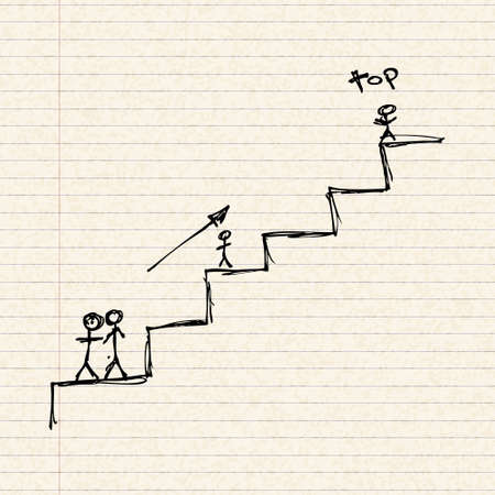 lined up: Illustration of stick men climbing some stairs Illustration