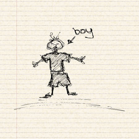 ruled paper: Illustration on a stick boy playing on a lined page Illustration
