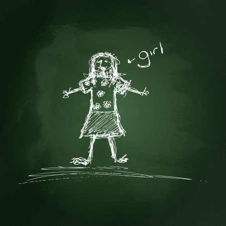 Hand drawn illustration of a girl on a blackboard