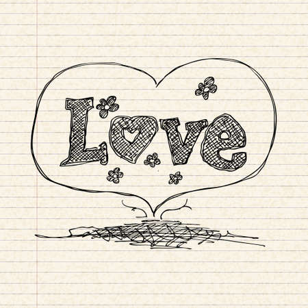 lined paper: Illustration of a love heart design on lined paper
