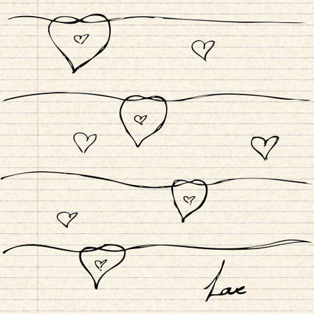 ruled paper: Illustration of a love heart design on lined paper