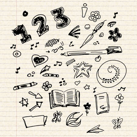 sketch book: Hand drawn selection of old school doodle illustrations