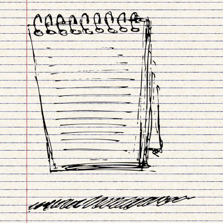 note pad: Hand drawn sketch of a note pad Illustration