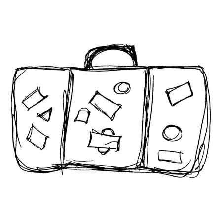 Ilustración exhausta de una vieja maleta Ilustración de vector