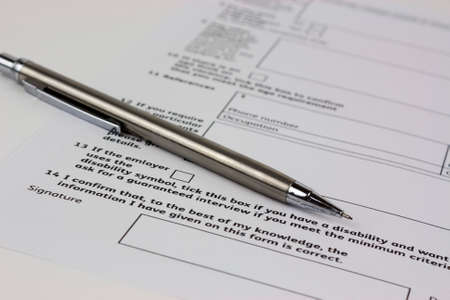 Close up of an application form to be completed