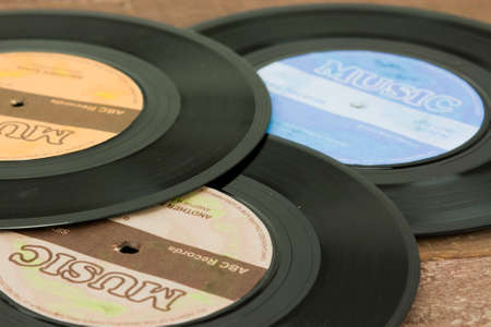 Close up of old vinyl single records