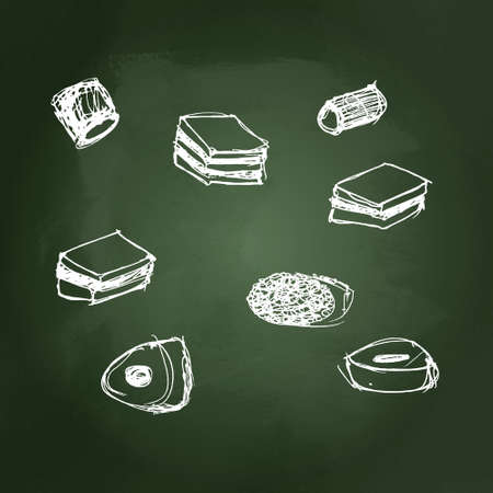Hand drawn illustration of a selection of sweets Vector