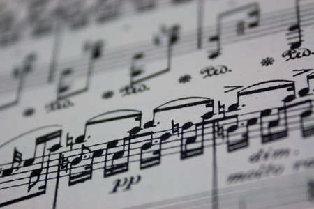 sheet music: Close up of notes on sheet music Stock Photo