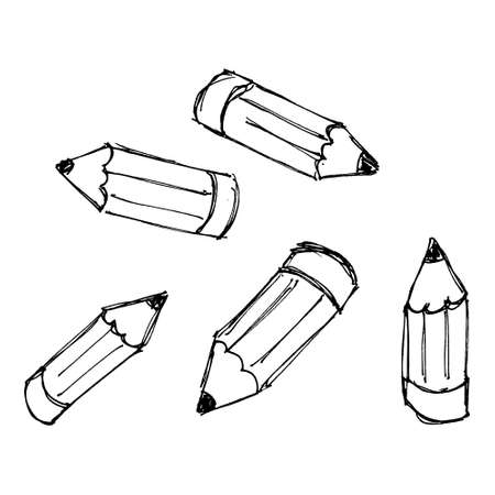 Set of hand drawn cartoon style pencils