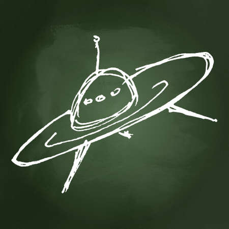 outerspace: Hand drawn cartoon style spaceship design Illustration
