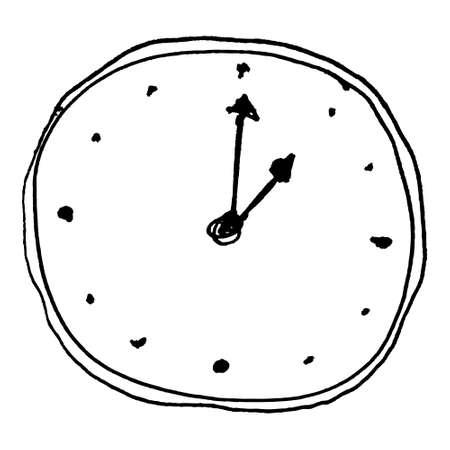 Hand drawn cartoon style clock design Standard-Bild
