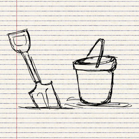 bucket and spade: Hand drawn illustration of a bucket and spade