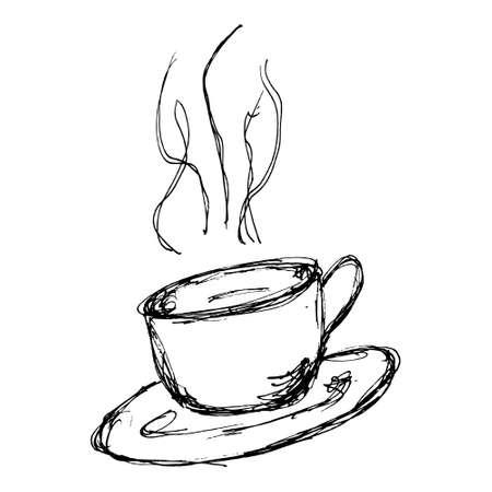 Hand drawn cartoon style coffee design