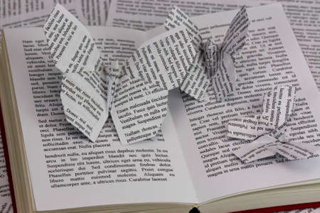 Origami butterflies with words coming out of a book