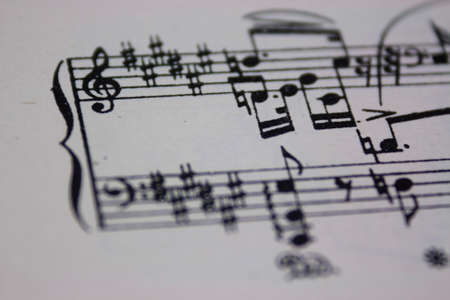 Close up of notes on sheet music Stock Photo