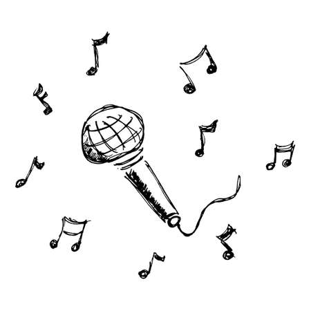 microphone: Hand drawn cartoon style microphone design