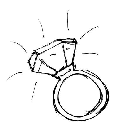 Hand drawn cartoon style ring design