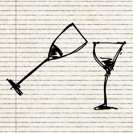 port wine: Hand drawn cartoon style wine glassl design Illustration