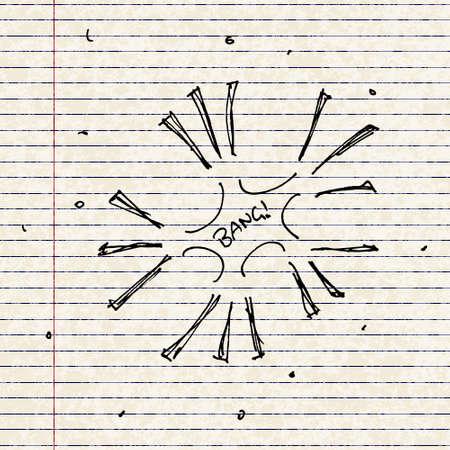 Set of hand drawn cartoon style fireworks Illustration