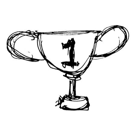 Hand drawn cartoon style trophy design