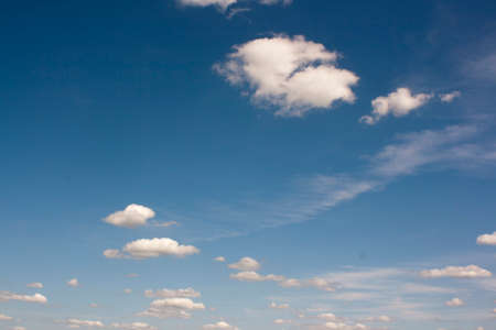 Smalll white clouds set against a blue sky
