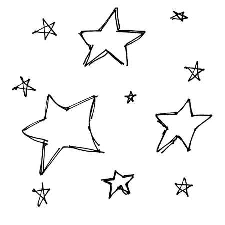 Set of hand drawn cartoon style stars